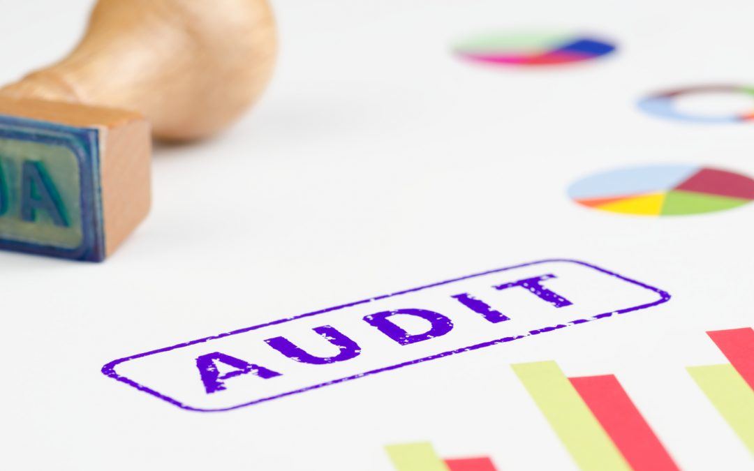 Audit stamped on a paper, wooden handle and colorful graphs.